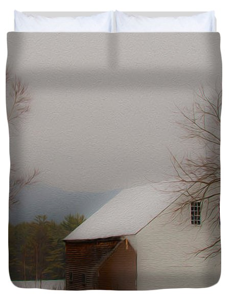 Duvet Cover featuring the photograph Melvin Village Barn In Winter by Brenda Jacobs