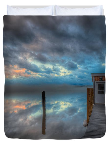 Melvin Village Marina In The Fog Duvet Cover by Brenda Jacobs