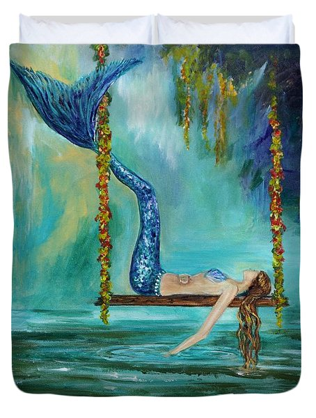 Mermaids Lazy Lagoon Duvet Cover by Leslie Allen