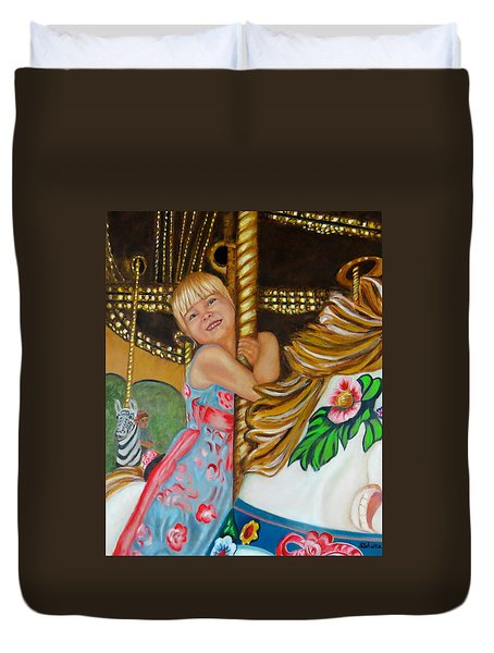 Duvet Cover featuring the painting Merry-go-round by Sharon Schultz