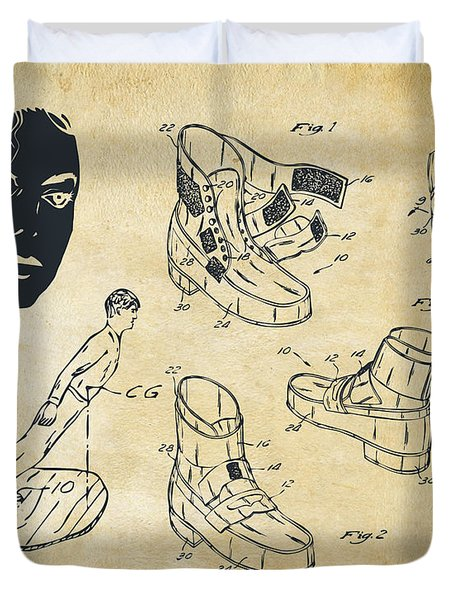 Michael Jackson Anti-gravity Shoe Patent Artwork Vintage Duvet Cover by Nikki Marie Smith