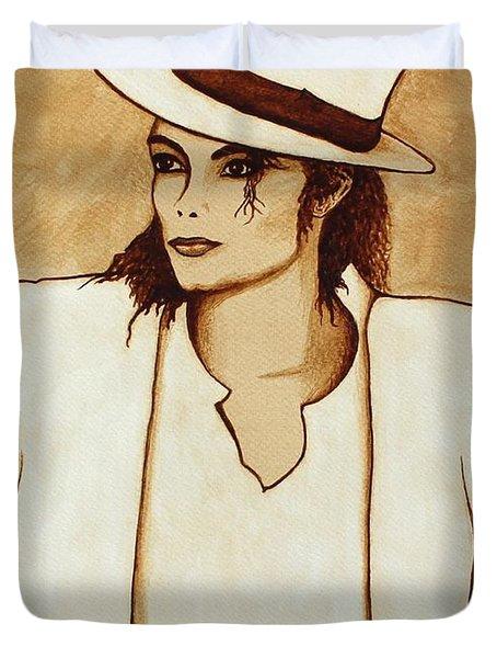 Michael Jackson Original Coffee Painting Duvet Cover by Georgeta  Blanaru