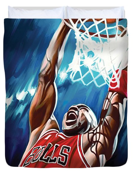 Michael Jordan Artwork Duvet Cover by Sheraz A