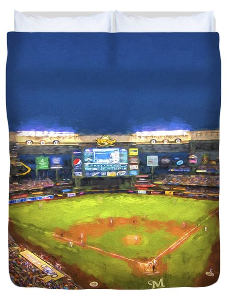 Milwaukee Brewers Miller Park Painted Digitally Duvet Cover
