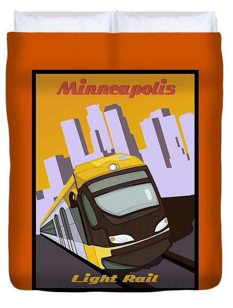 Minneapolis Light Rail Travel Poster Duvet Cover