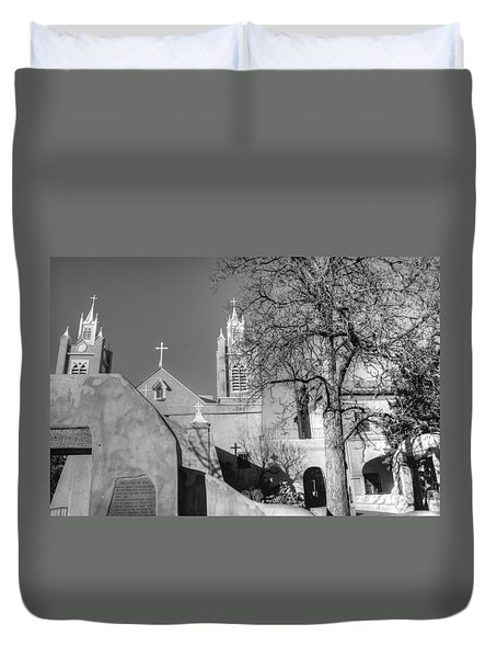 Mission In Black And White Duvet Cover