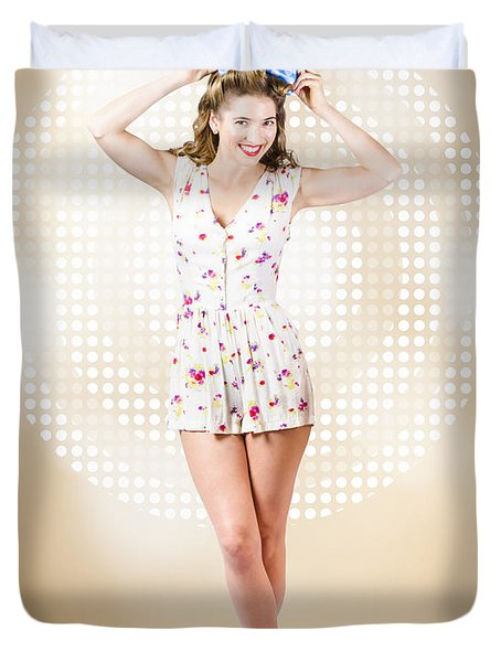 Modelling Pinup Girl Wearing Bow Hair Accessory Duvet Cover