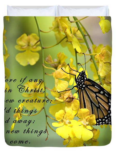 Monarch Butterfly With Scripture Duvet Cover