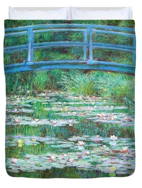 Duvet Cover featuring the photograph Monet's The Japanese Footbridge by Cora Wandel