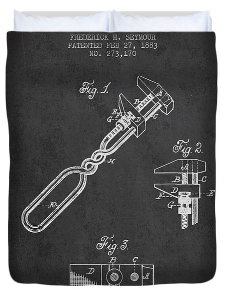 Monkey Wrench Patent Drawing From 1883 Duvet Cover by Aged Pixel