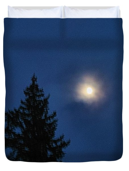 Moon Beyond The Spruce Duvet Cover