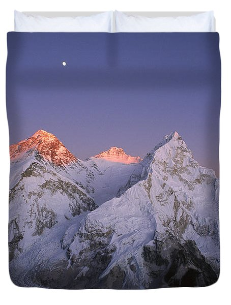 Duvet Cover featuring the photograph Moon Over Mount Everest Summit by Grant  Dixon