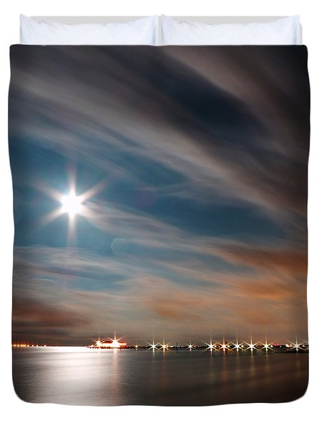 Moon Rise Over Anna Maria Island Historic City Pier Duvet Cover