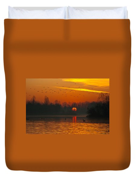 Duvet Cover featuring the photograph Morning Over River by Davor Zerjav