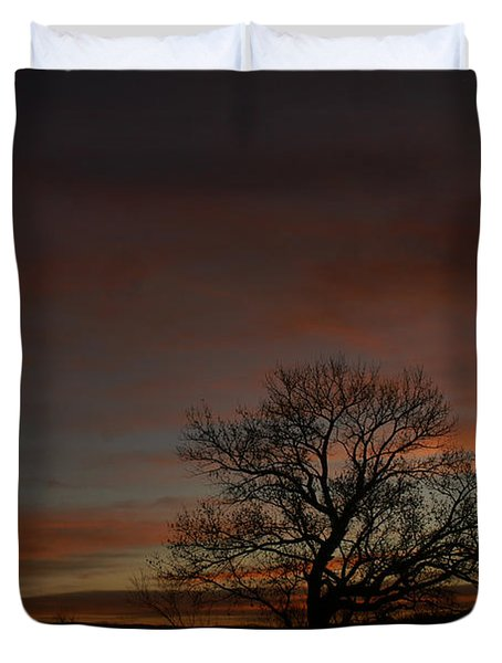Morning Sky In Bosque Duvet Cover