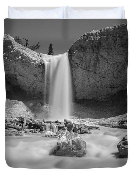Mossy Cave Waterfall Bw Duvet Cover