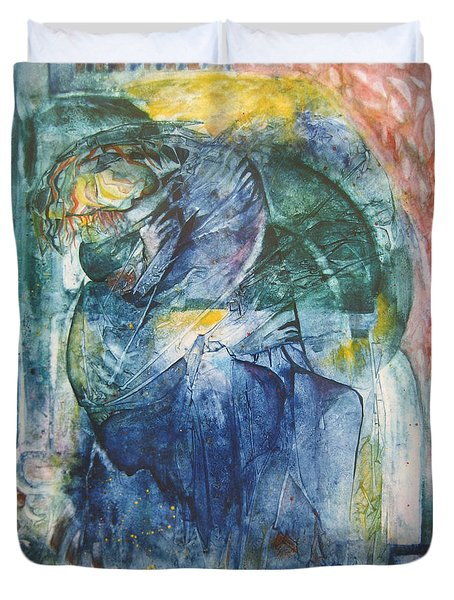 Duvet Cover featuring the painting Mother And Child by Diana Bursztein