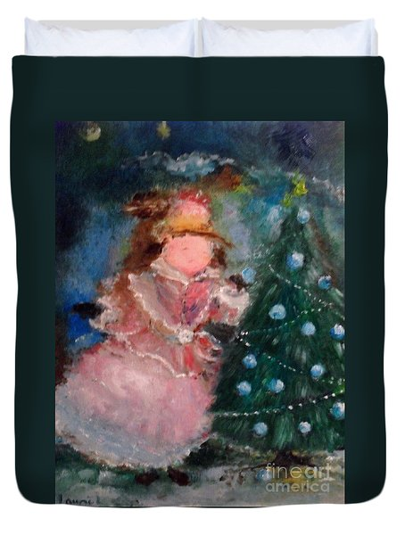 Duvet Cover featuring the painting Mother Christmas by Laurie Lundquist