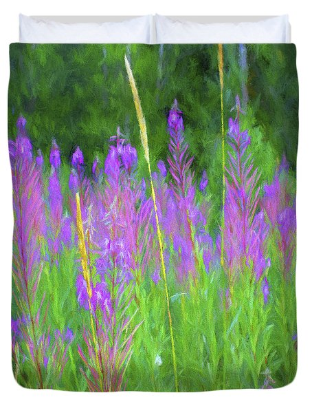 Duvet Cover featuring the digital art Mountain Lilacs  by Cathy Anderson
