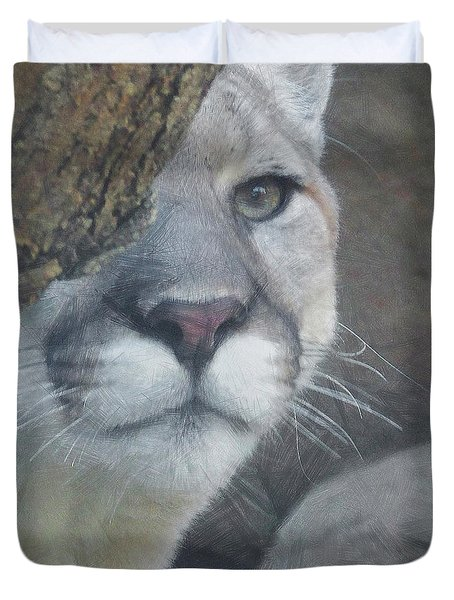 Mountain Lion Painterly Duvet Cover by Ernie Echols
