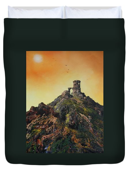 Duvet Cover featuring the painting Mow Cop Castle Staffordshire by Jean Walker
