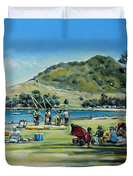 Duvet Cover featuring the painting Mt Maunganui Pilot Bay 201210 by Selena Boron