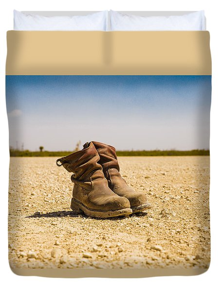 Muddy Work Boots Duvet Cover