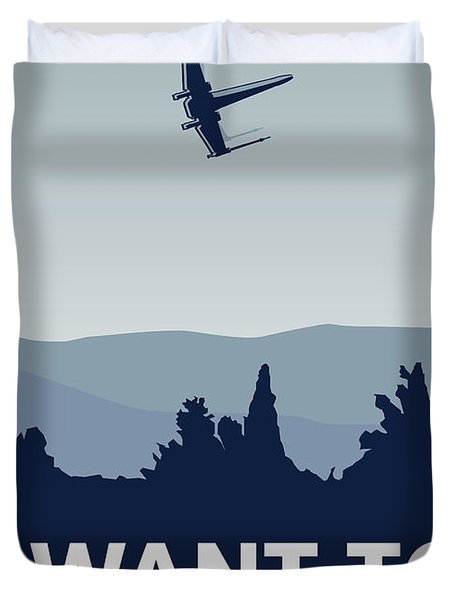 My I Want To Believe Minimal Poster-xwing Duvet Cover by Chungkong Art