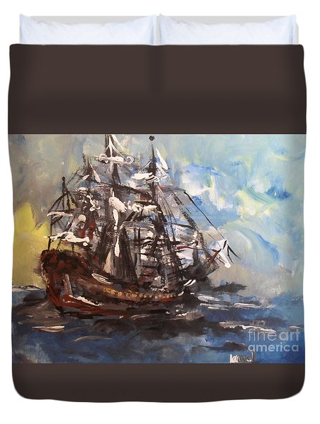 Duvet Cover featuring the painting My Ship by Laurie Lundquist