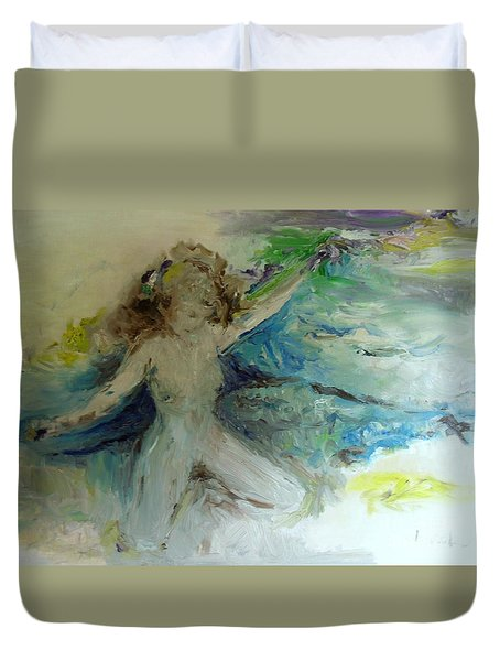 Duvet Cover featuring the painting My Vagina by Laurie Lundquist