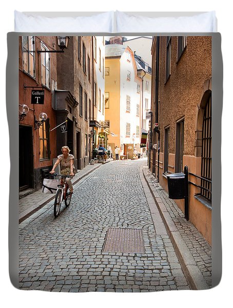 Narrow Stockholm Street Sweden Duvet Cover