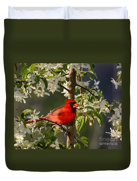 Red Cardinal In Flowers Duvet Cover