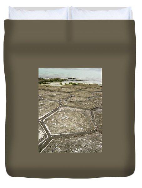 Natural Forming Pentagon Rock Formations Of Kumejima Okinawa Japan Duvet Cover