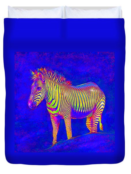 Duvet Cover featuring the digital art Neon Zebra 2 by Jane Schnetlage