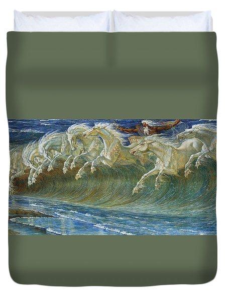 Neptune's Horses Duvet Cover by Walter Crane