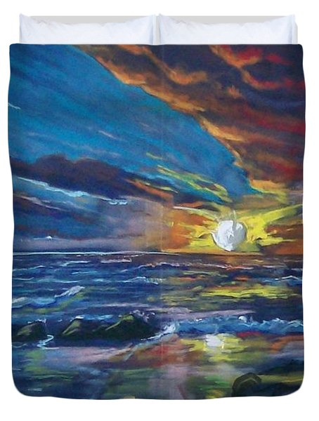 Duvet Cover featuring the pastel Never Ending Sea by Peter Suhocke