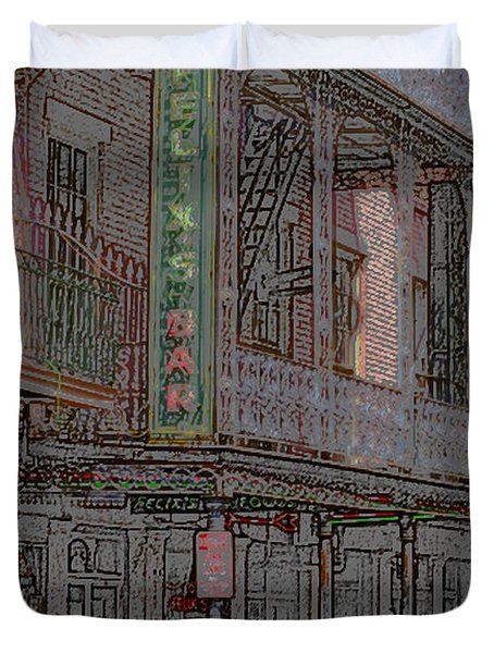 New Orleans - Bourbon Street With Pencil Effect Duvet Cover