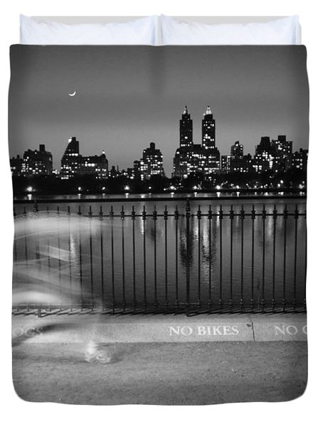 Night Jogger Central Park Duvet Cover