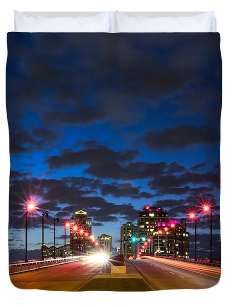 Night Lights Duvet Cover by Debra and Dave Vanderlaan