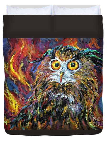 Duvet Cover featuring the painting Night Owl by Jieming Wang