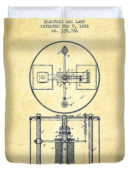 Nikola Tesla Patent Drawing From 1886 - Vintage Duvet Cover by Aged Pixel