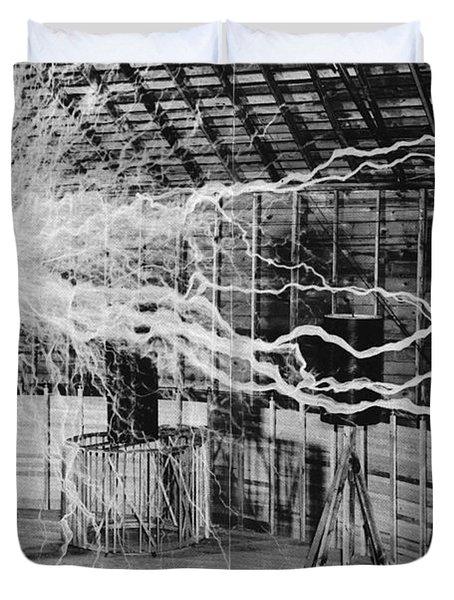 Nikola Tesla Serbian-american Inventor Duvet Cover