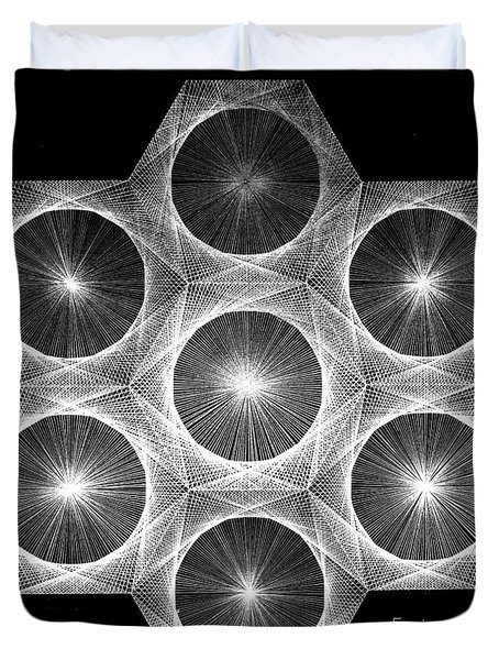 Duvet Cover featuring the drawing Nuclear Fusion by Jason Padgett