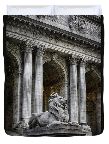 Ny Library Lion Duvet Cover by Jerry Fornarotto