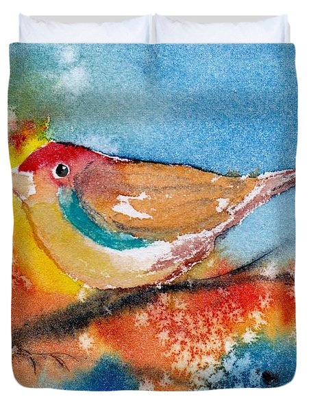 Duvet Cover featuring the painting October Third by Anne Duke