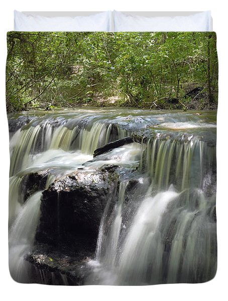 Odom Creek Waterfall Georgia Duvet Cover by Charles Beeler