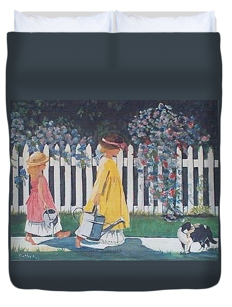 Off To The Garden Duvet Cover