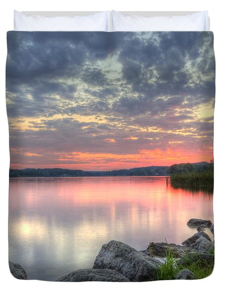 Ohio Lake Sunset Duvet Cover