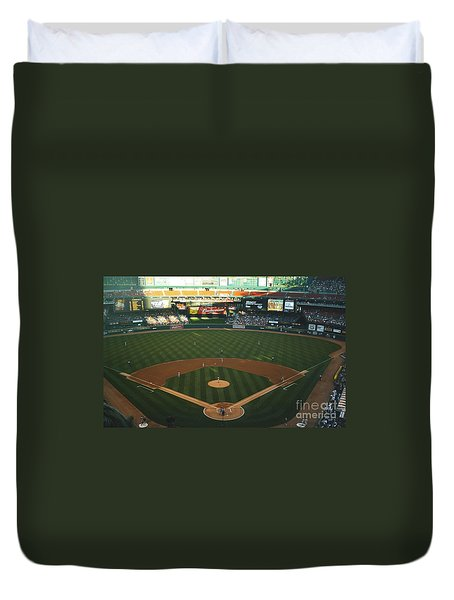 Duvet Cover featuring the photograph Old Busch Field by Kelly Awad