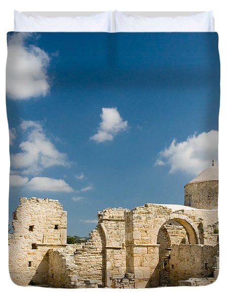 Duvet Cover featuring the photograph Old Church Anogyra  by Jeremy Voisey